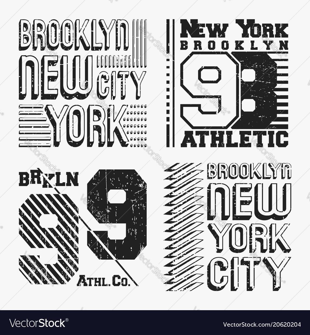 Brooklyn new york vintage t shirt stamp set Vector Image 9df8eaec22f