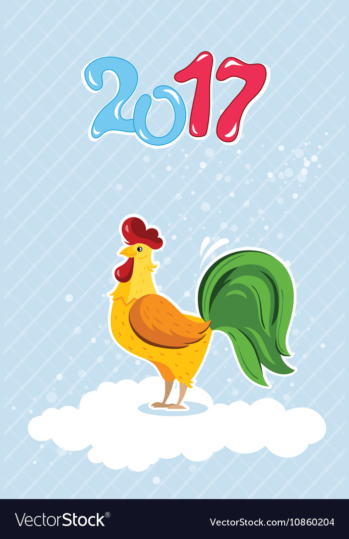 Cartoon rooster characters symbol of 2017 years