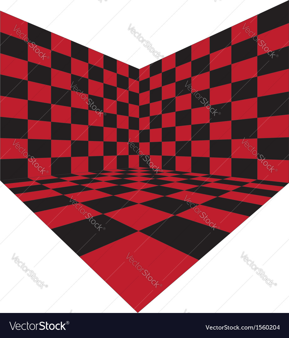 Corner of red checkered room