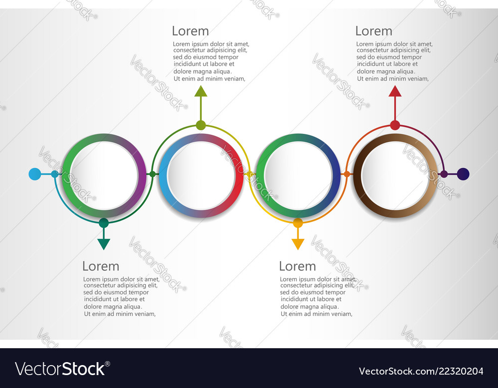 Infographic design template with timeline and 4 vector
