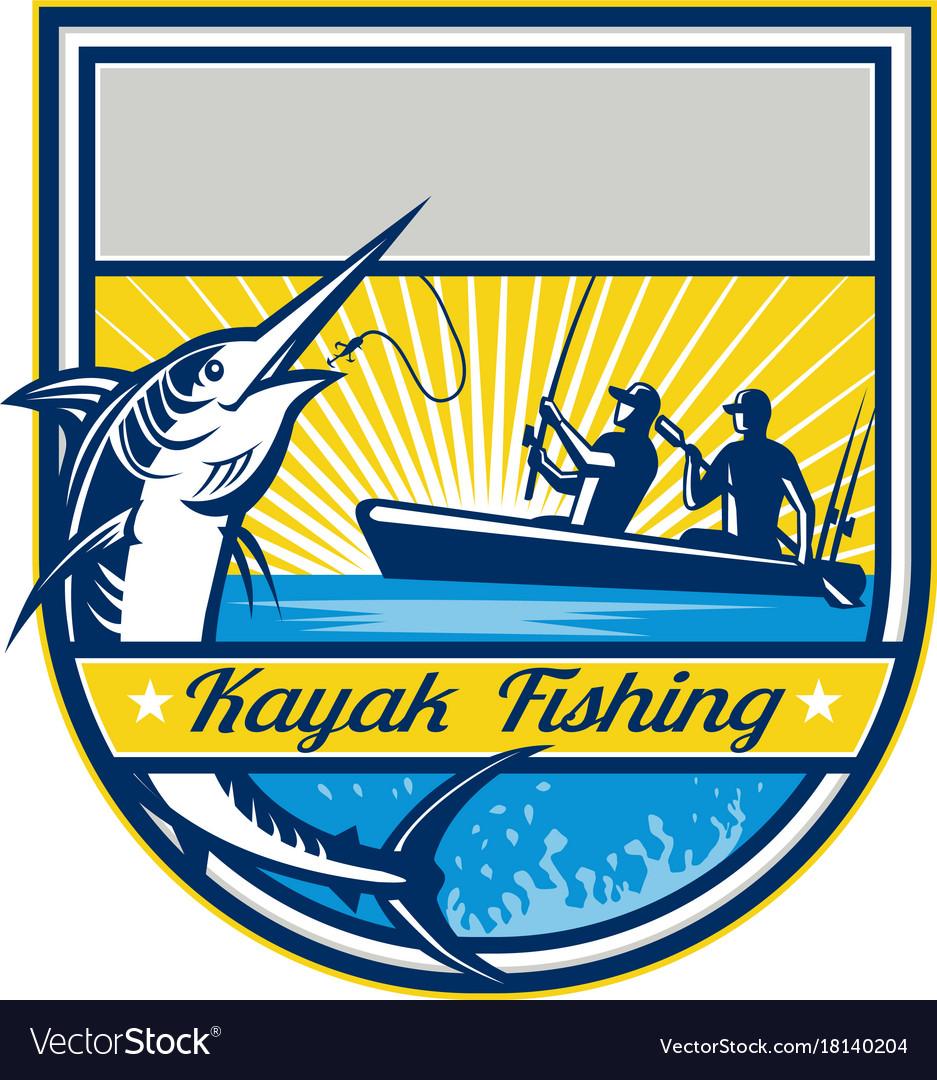 Kayak fishing blue marlin badge