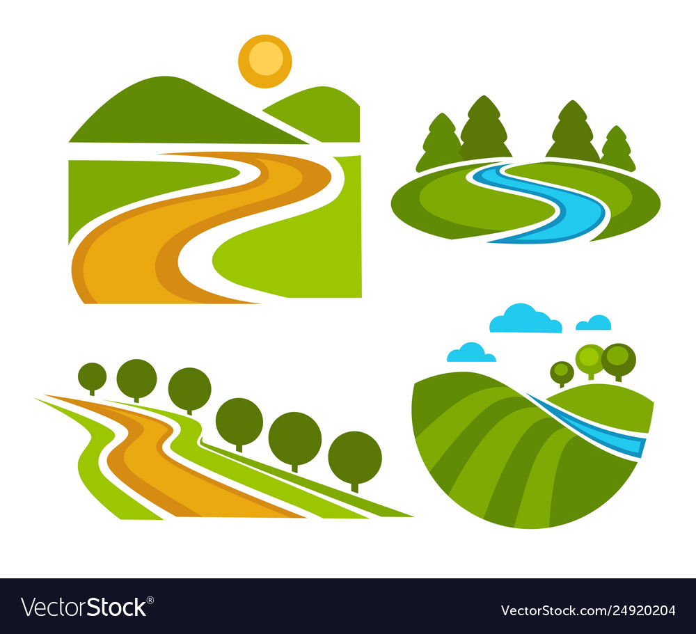 Landscape corporate identity isolated icons nature