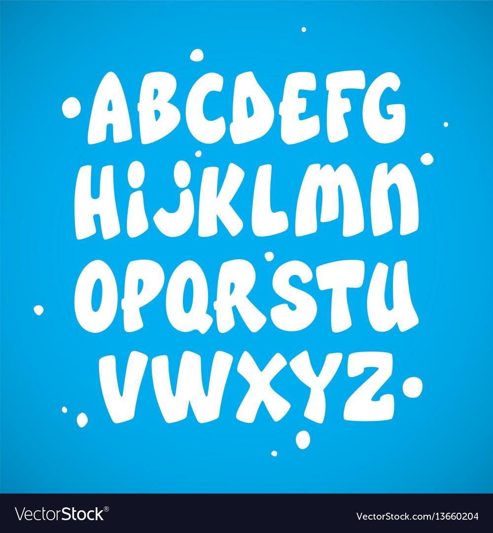 Liquid comic font with splashes alphabet