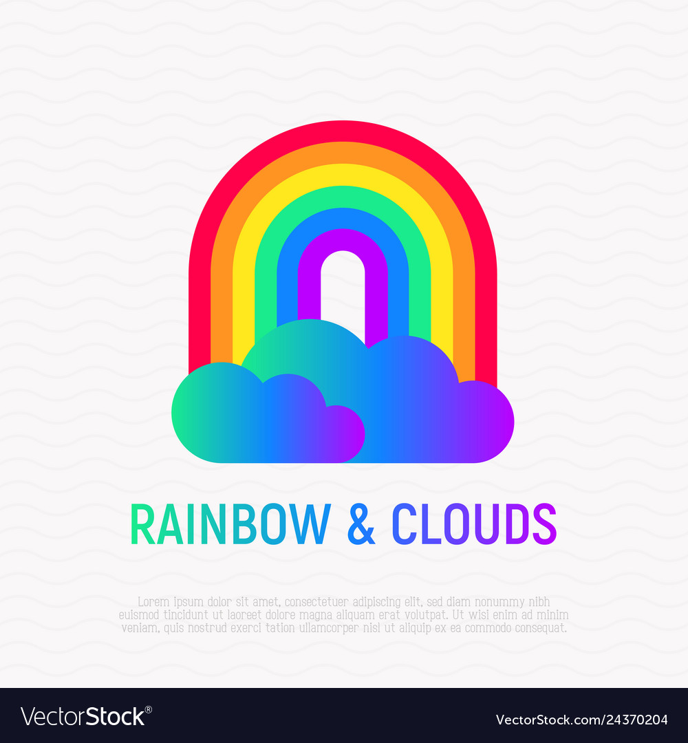 Rainbow with gradient clouds icon lgbt symbol
