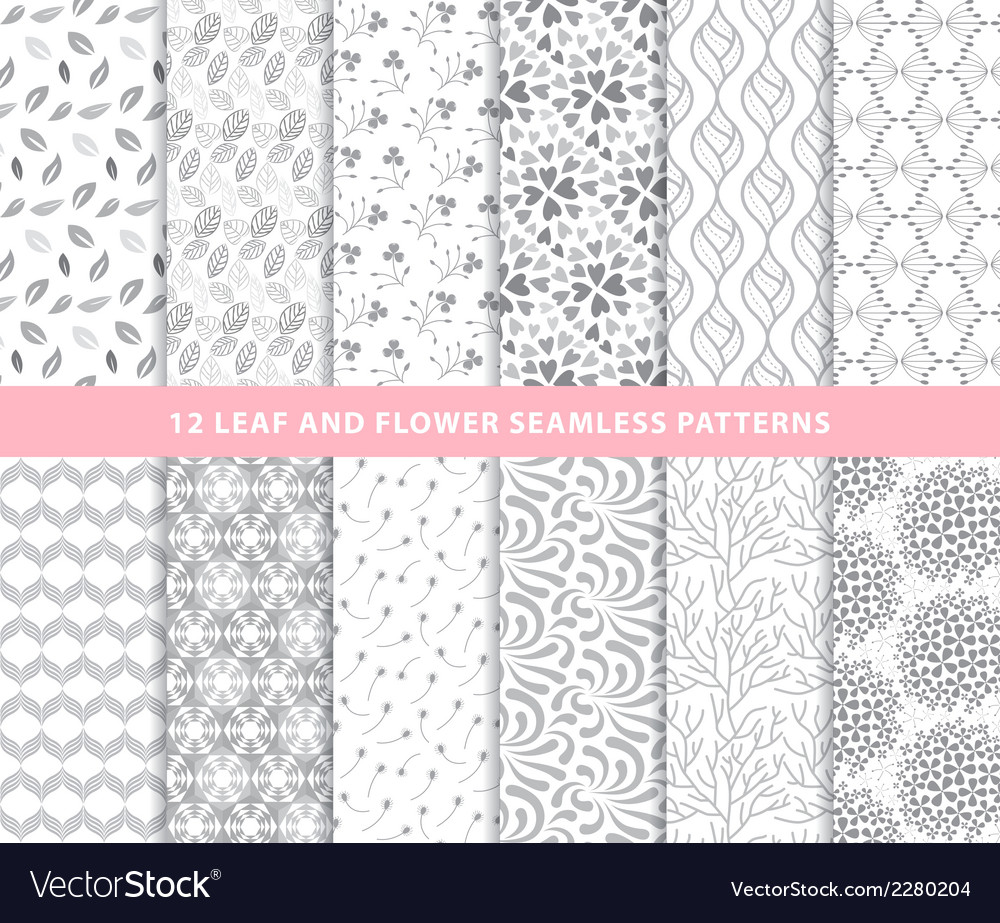 Set of leaf and flower seamless patterns
