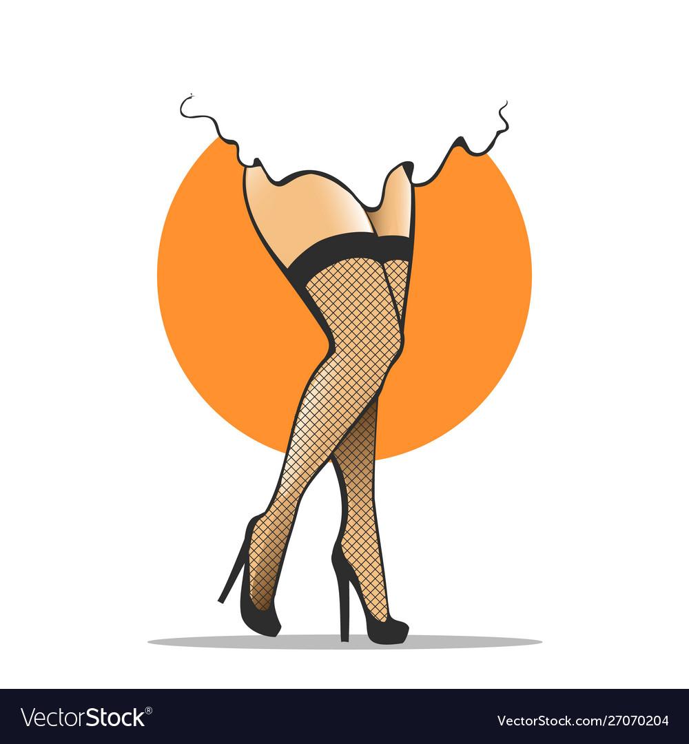 Woman legs in fishnet stockings