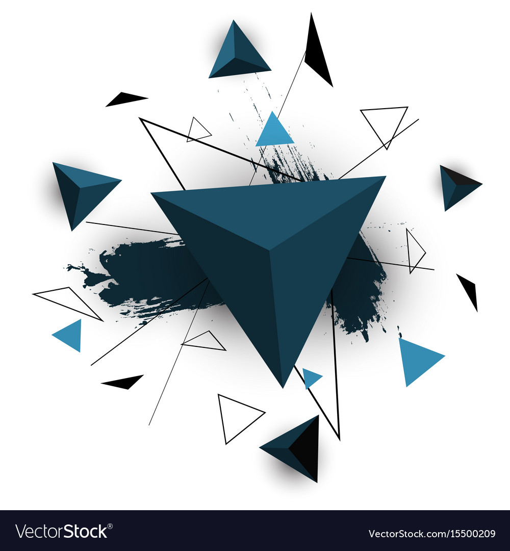 Blue triangle abstract on white background vector image