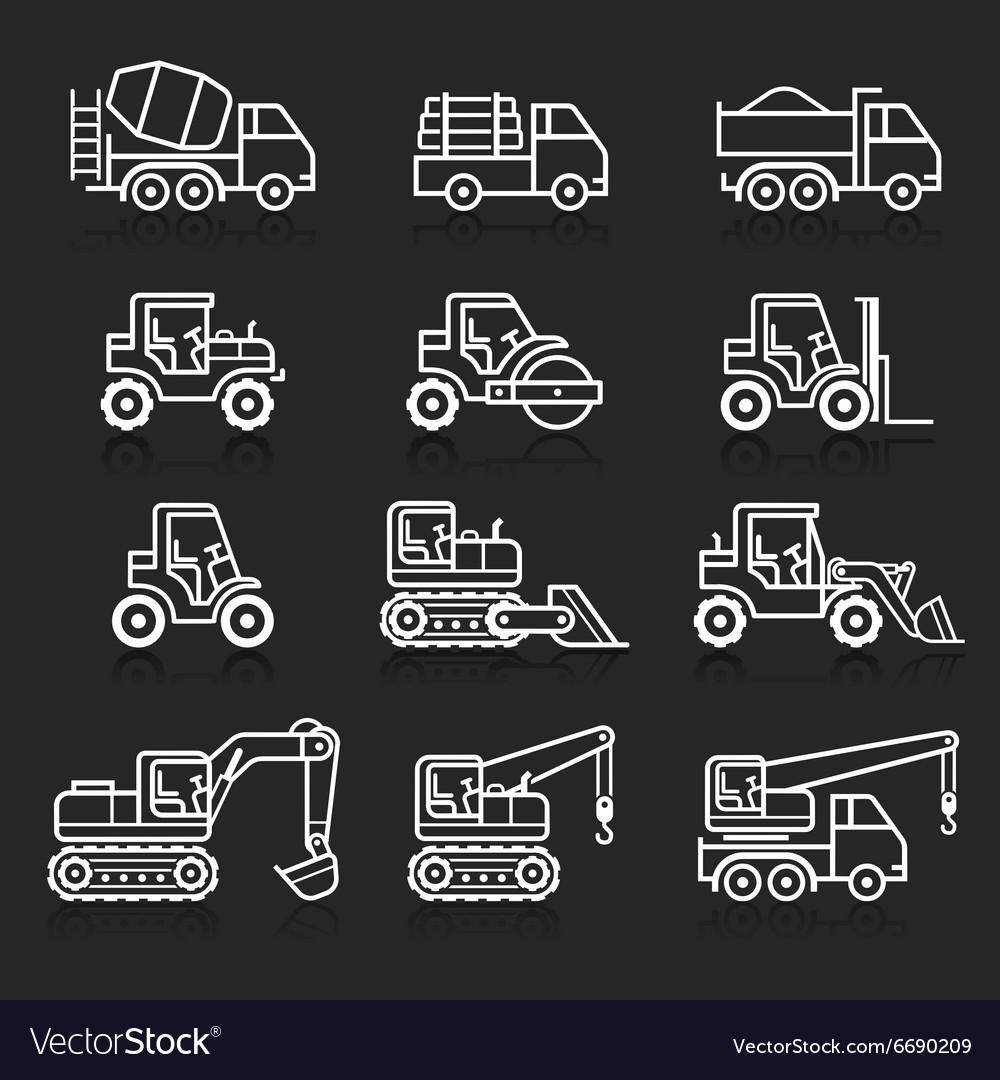 Construction truck icon set