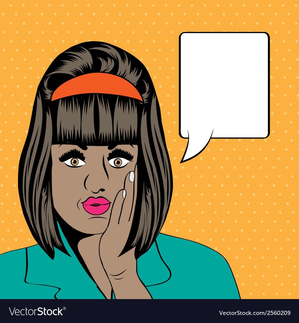 Cute retro black woman in comics style