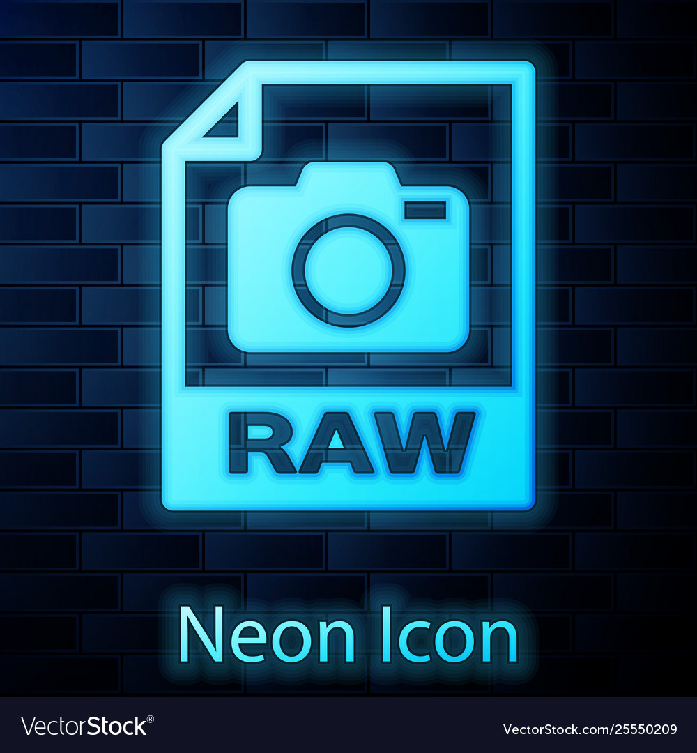 Glowing neon raw file document icon download raw