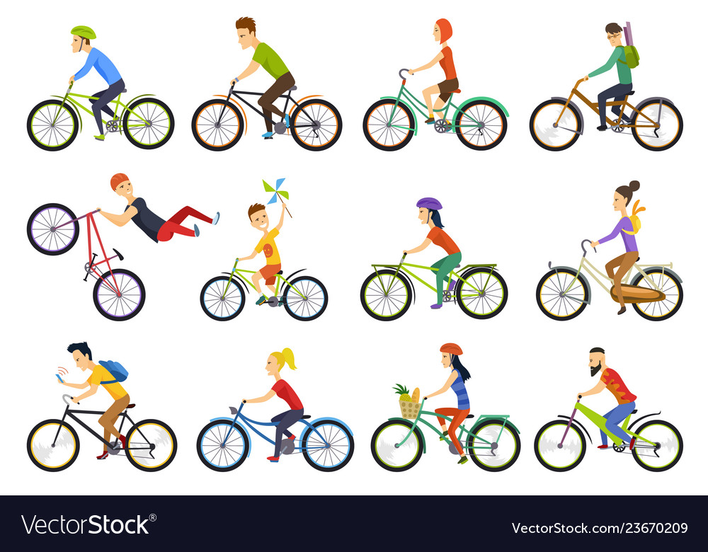 Group of tiny people riding bikes on city bike