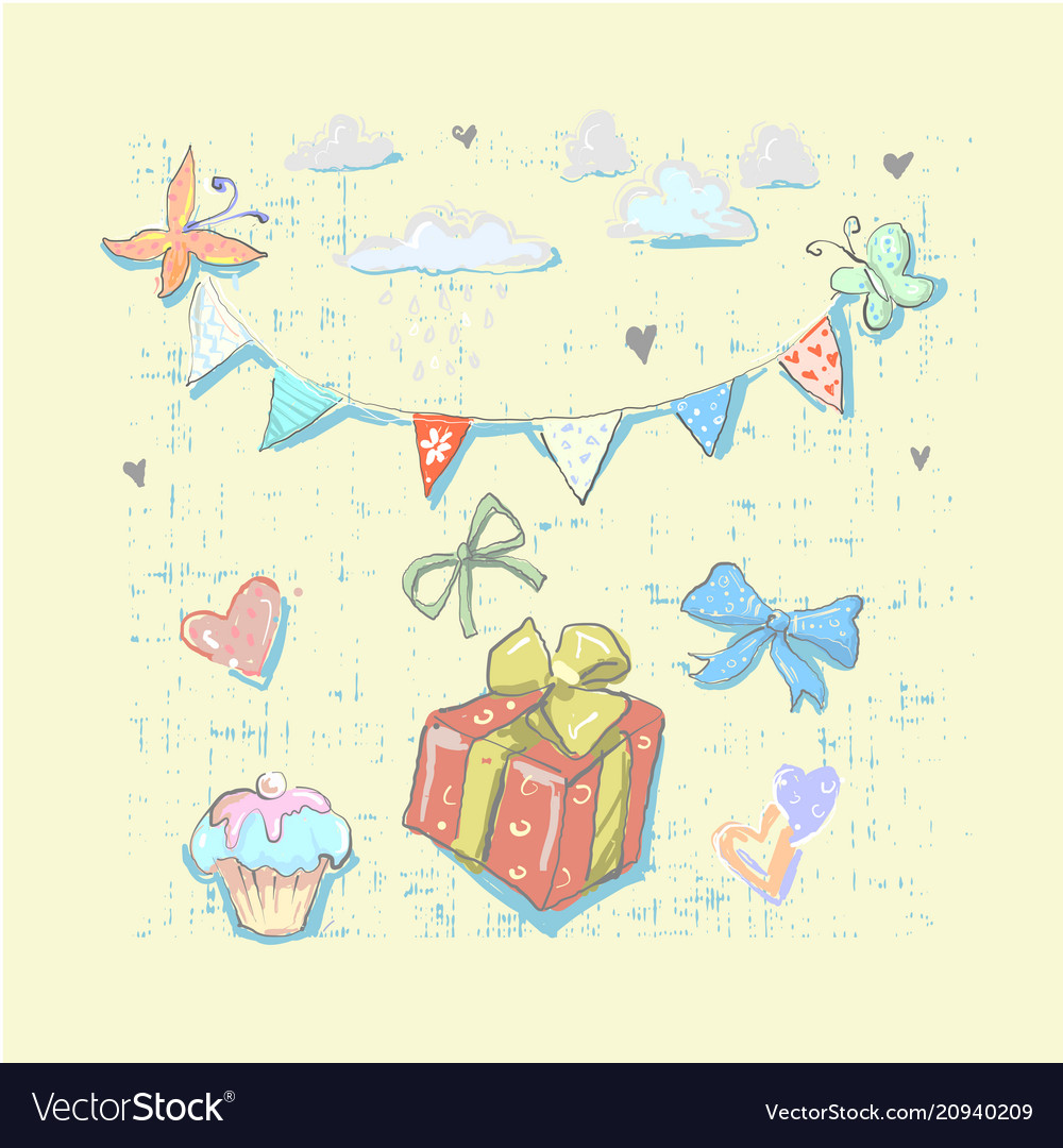 Happy birthday set cute elements with gift box