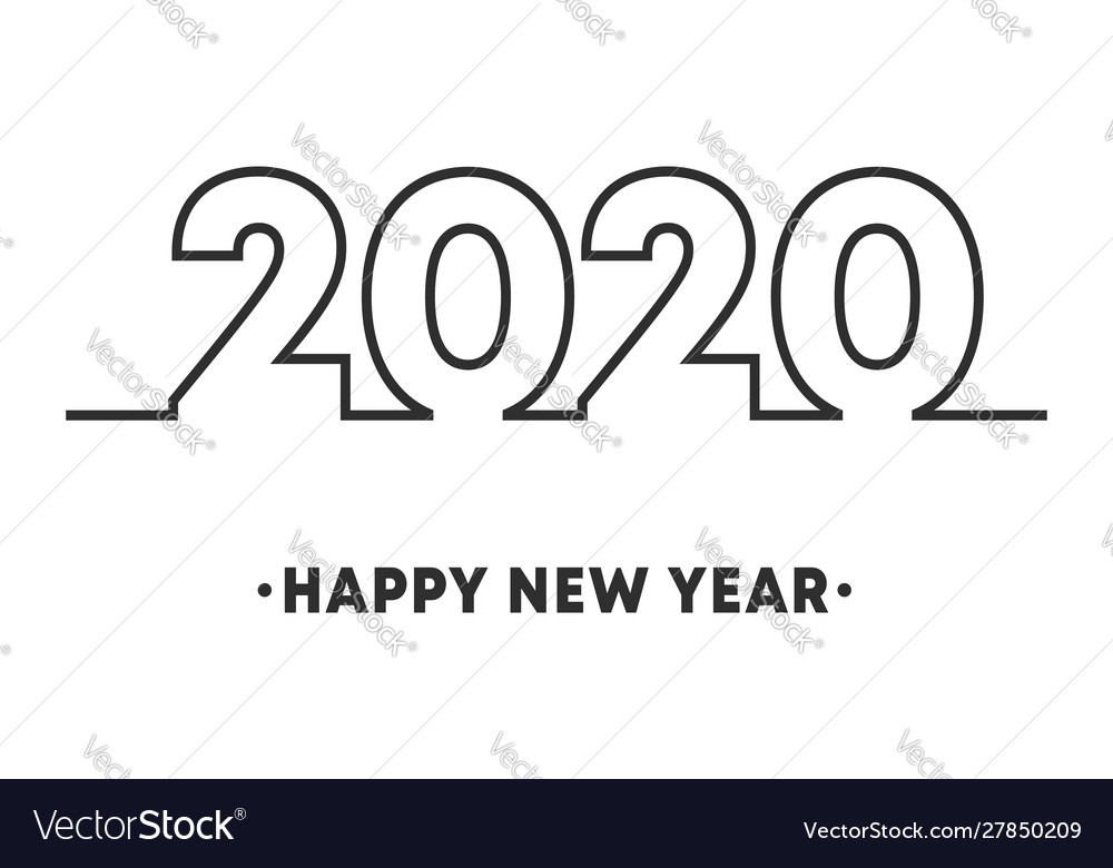 Happy new year 2020 minimal line design for