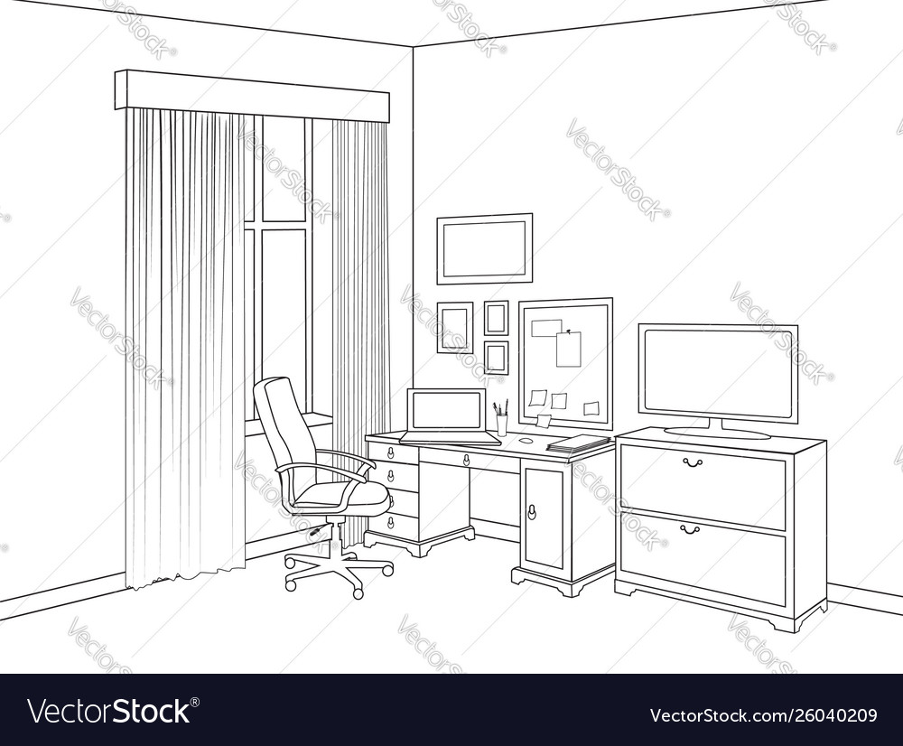 Interior sketch home office room outline