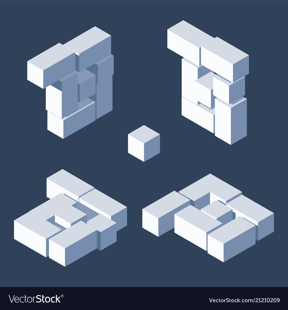Isometric letter b drawn with 3d block cubes