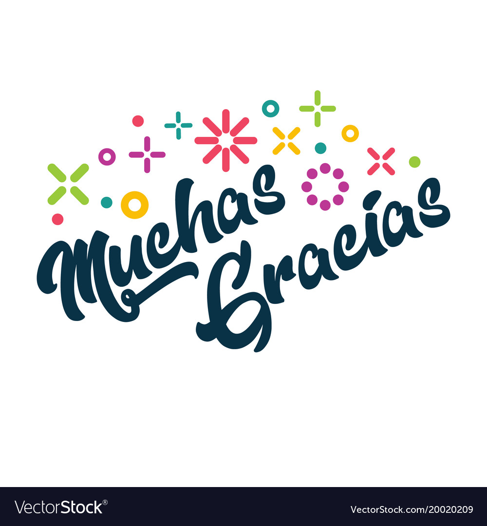 Muchas gracias spanish thank you greeting card vector image fandeluxe Gallery