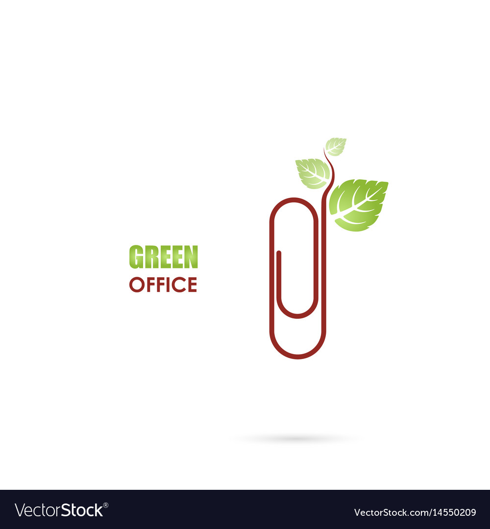 Paper clip sign and green leafs icon logo design vector image