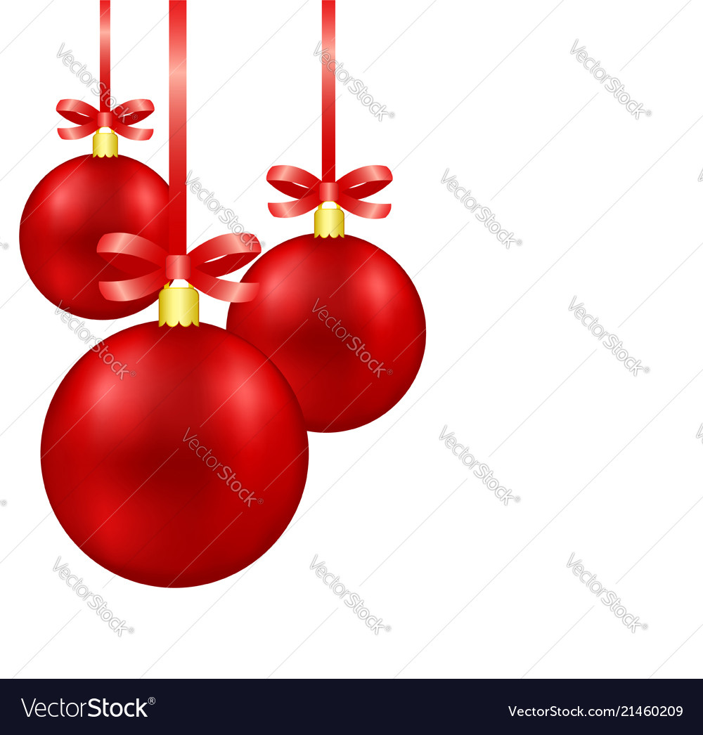 Red christmas decoration balls on ribbon with bow