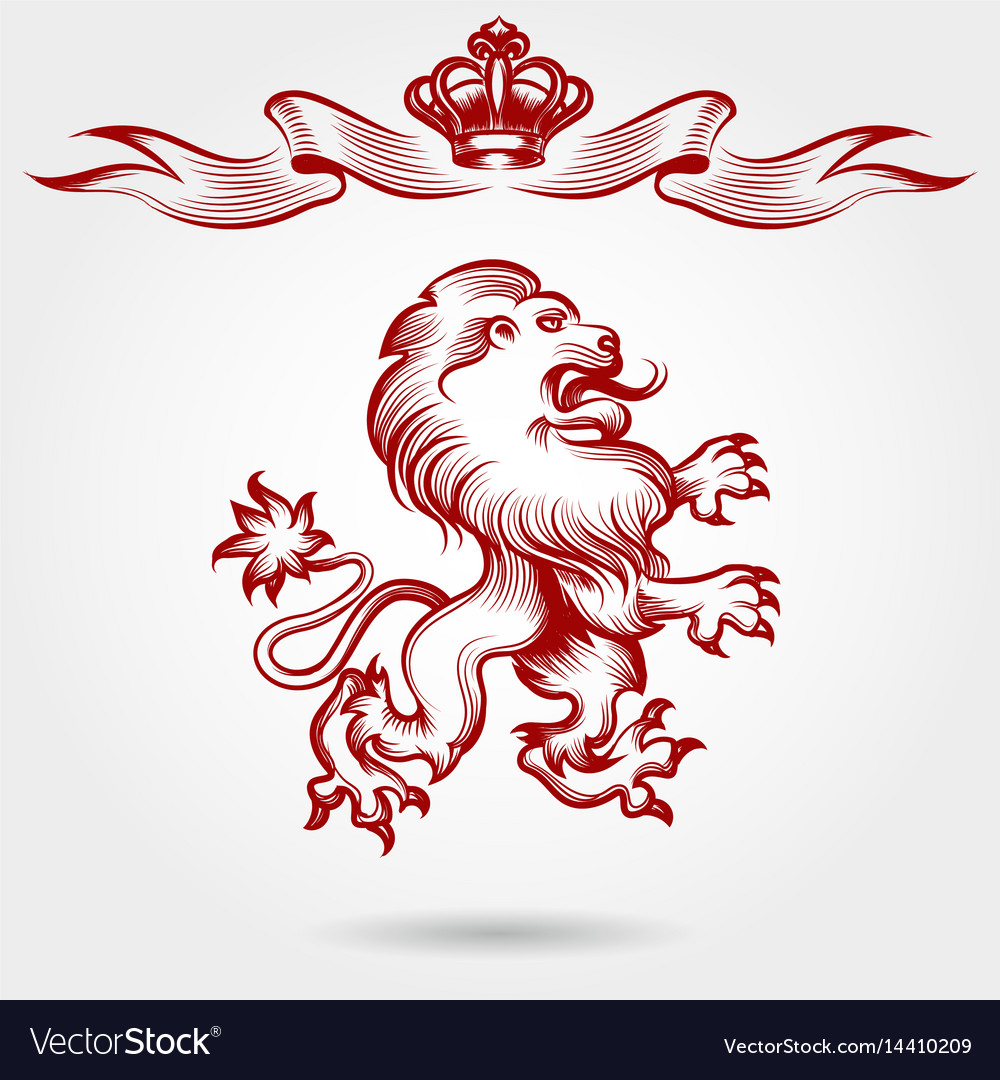 Red engraving lion and crown sketch