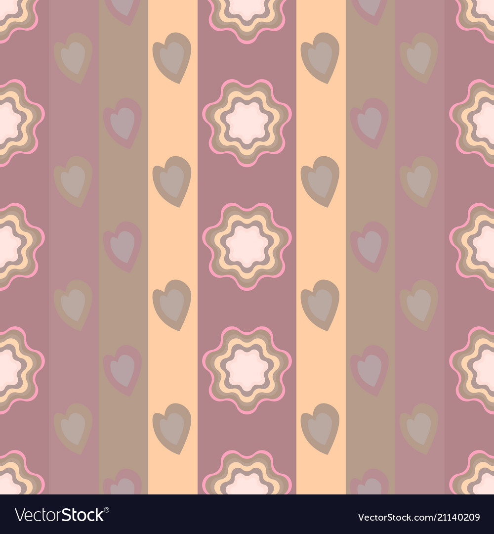 Seamless pattern elements of flowers and hearts
