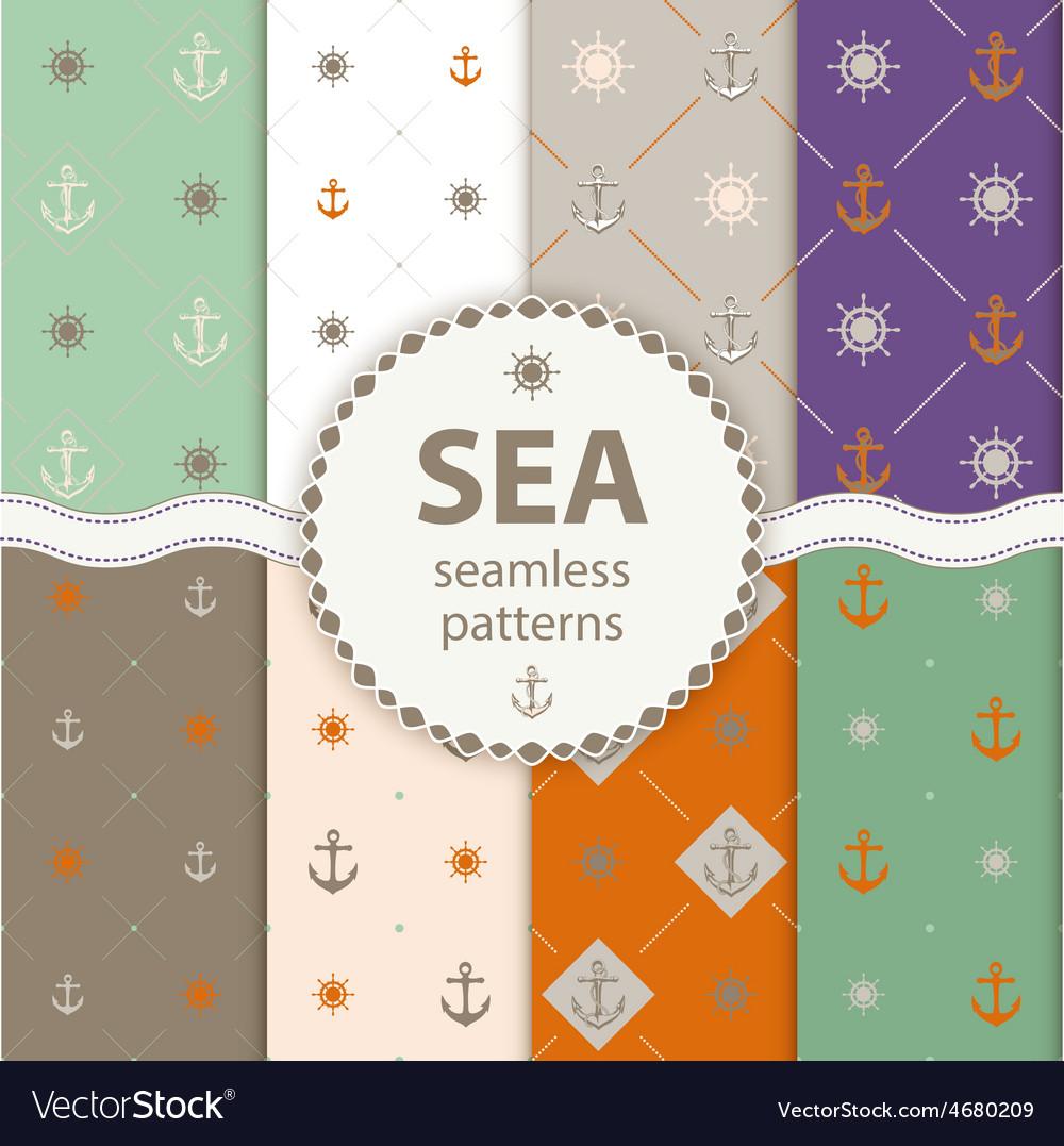 Seamless patterns aqua background Set wallpaper
