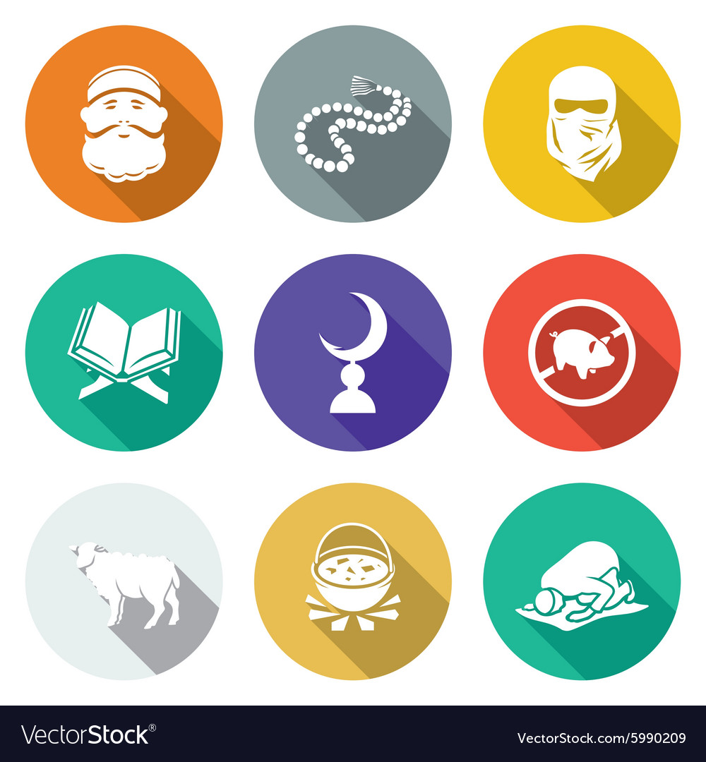 set of islamic icons set royalty free vector image vectorstock