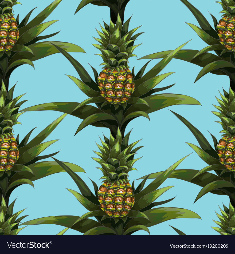 Summer seamless pattern with hand-drawn pineapple
