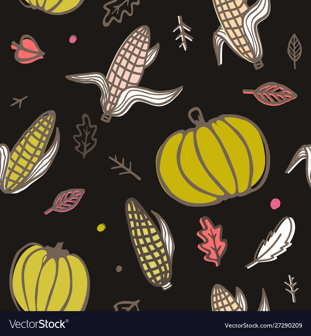 Thanksgiving day seamless pattern with corn cobs