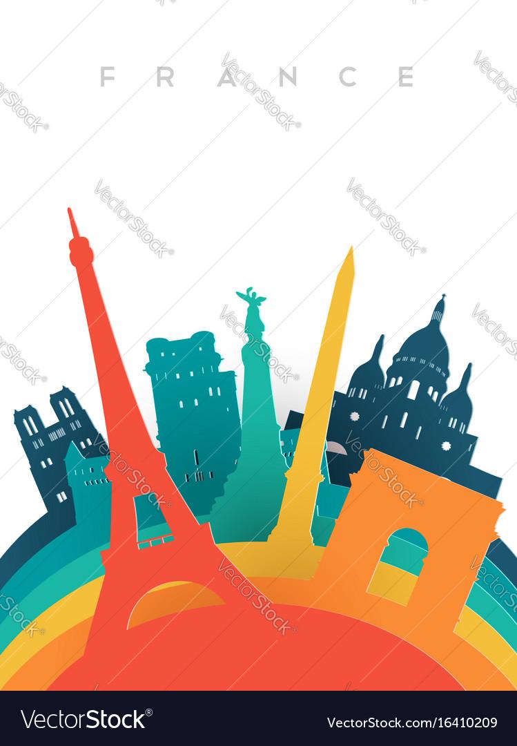 Travel france 3d paper cut world landmarks