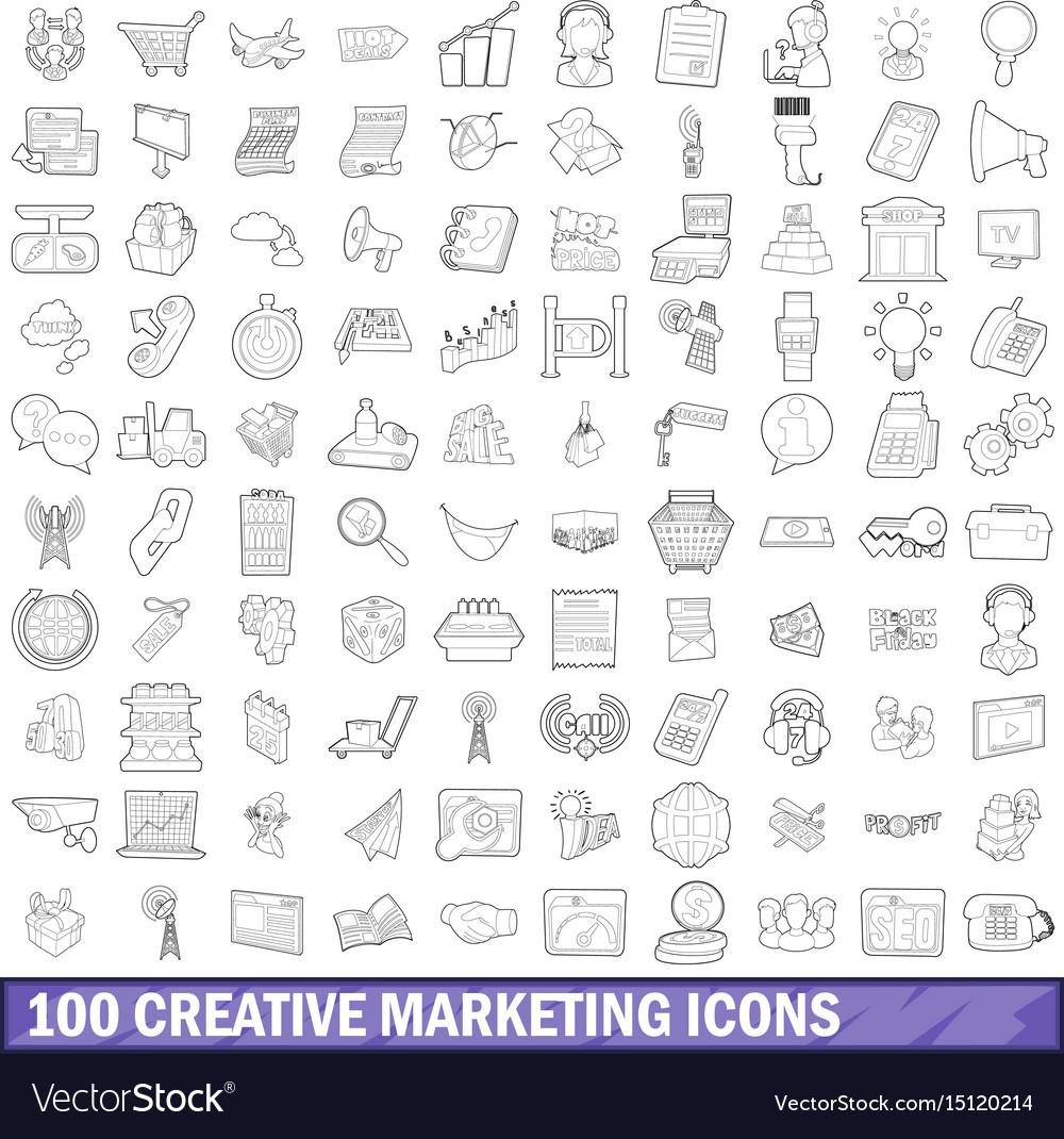 100 creative marketing icons set outline style