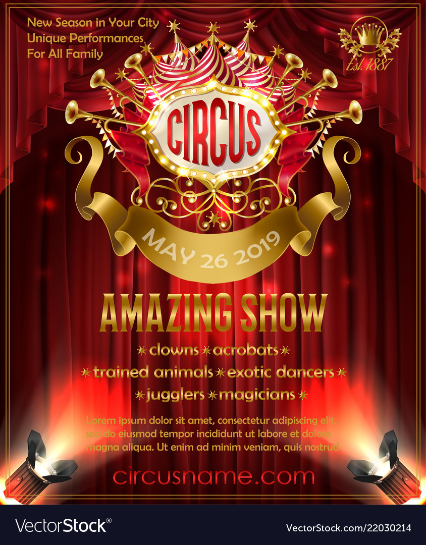 Advertising poster for circus amazing show