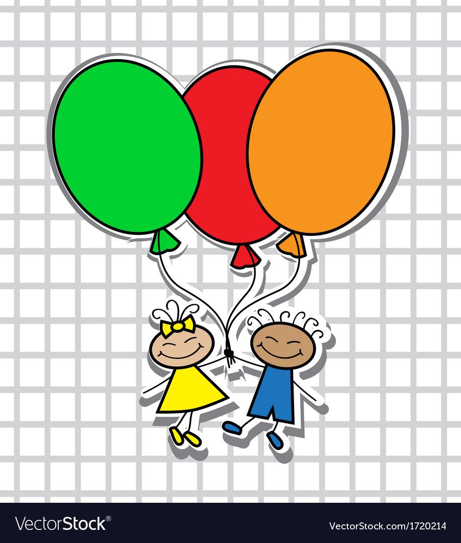 Cartoon kids with balloons