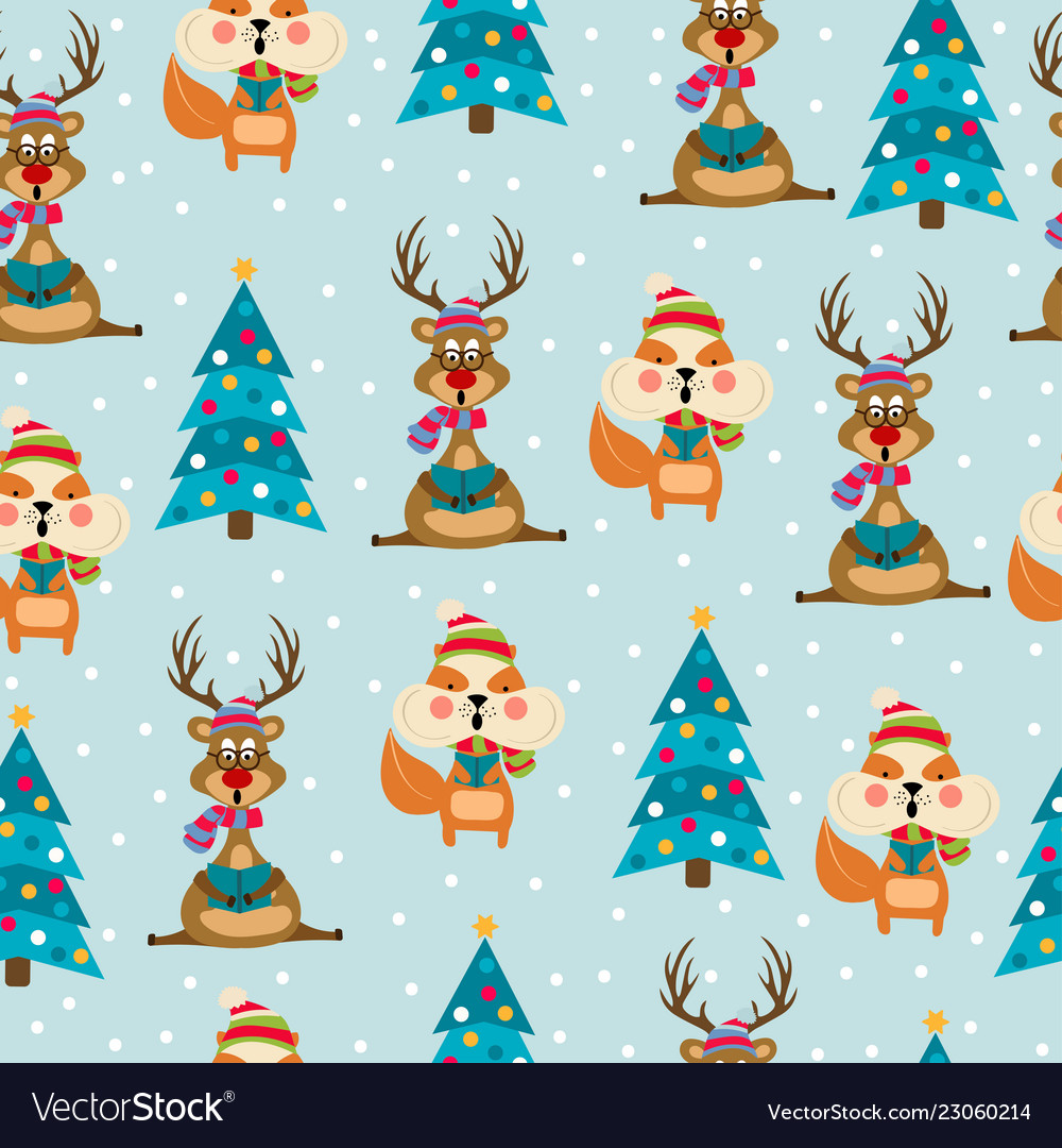 Christmas seamless pattern with reindeers and