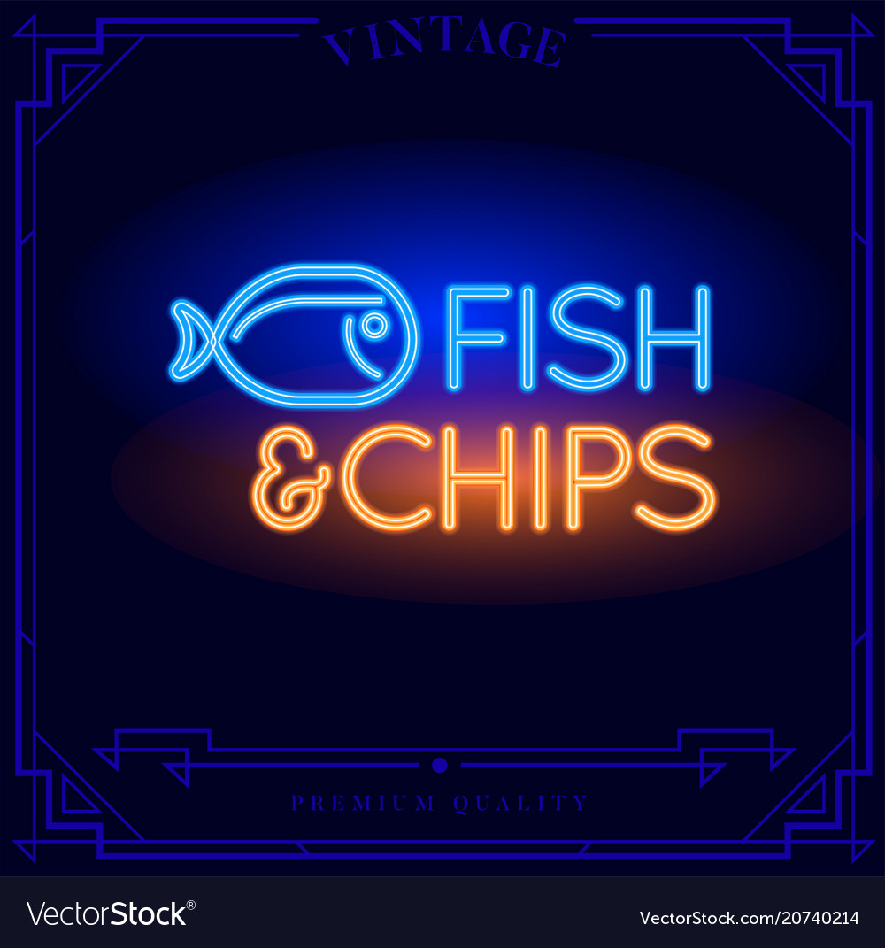 Fish and chips restaurant bar neon light sign vector image aloadofball Image collections