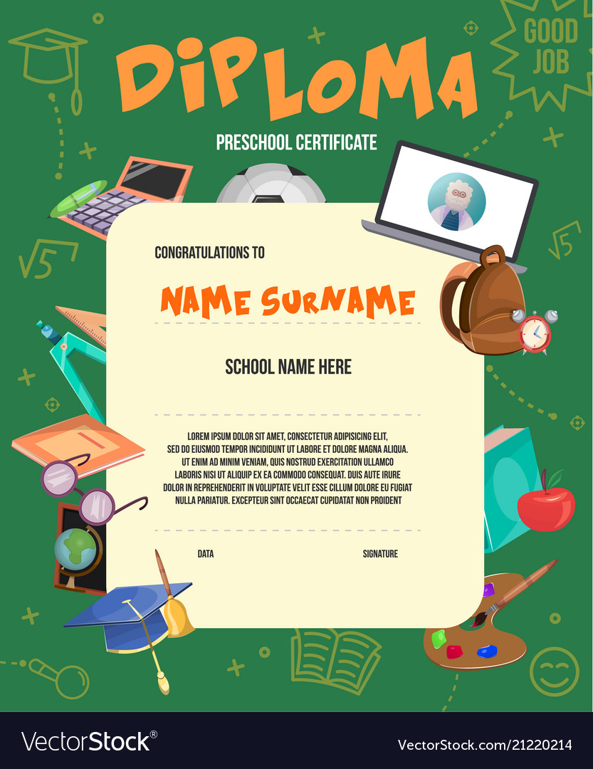 flat kids diploma certificate template royalty free vector