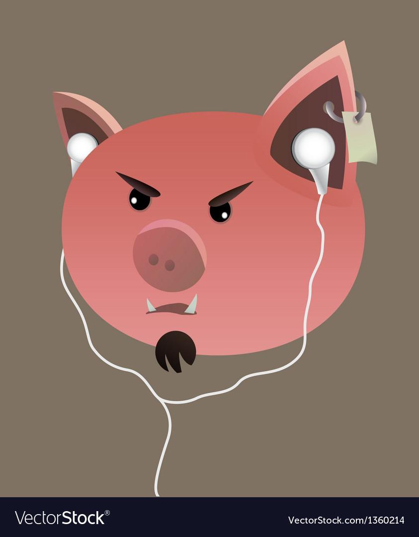 свинья в наушниках картинка против