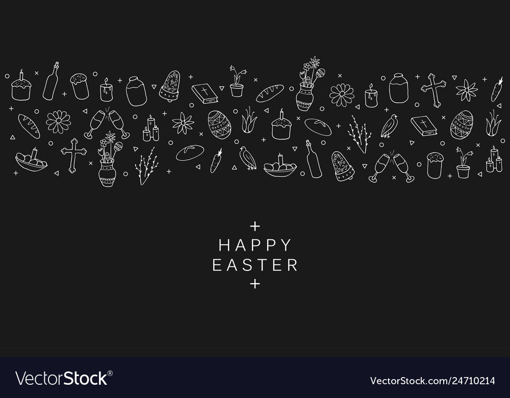 Hand drawn easter elements in doodle style black