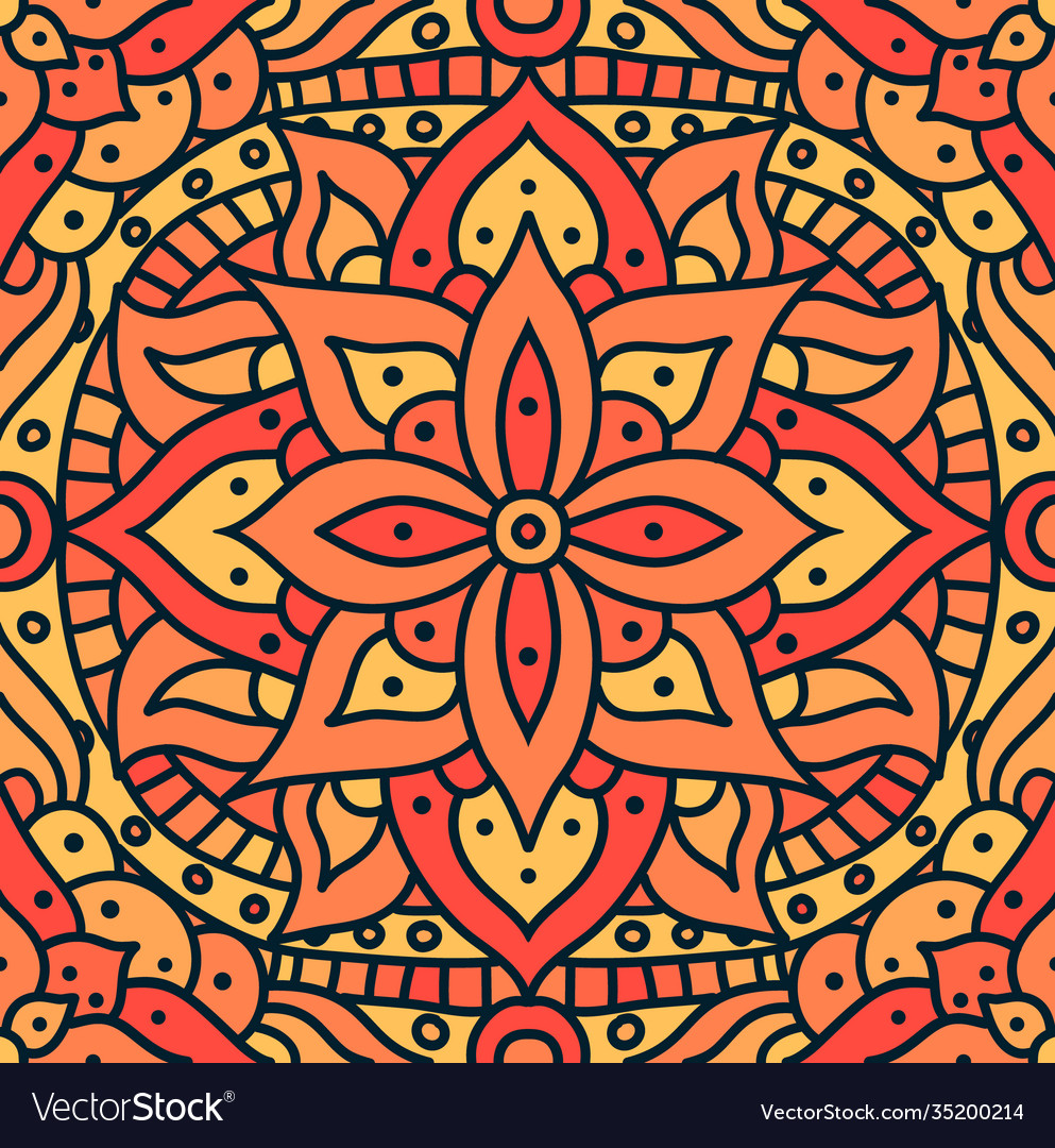 Indian mandala pattern seamless design vector