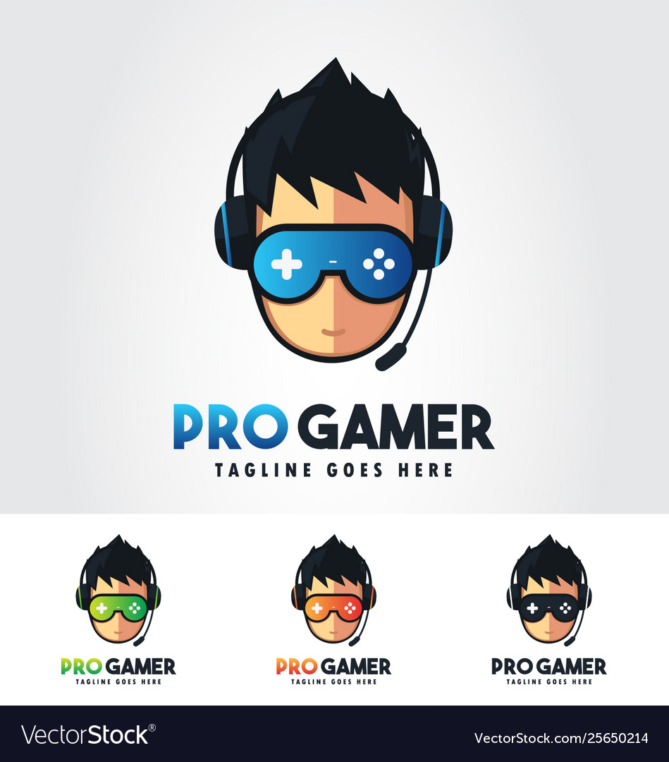 Pro Gamer Gaming Logo Design Template Bundle Vector Image