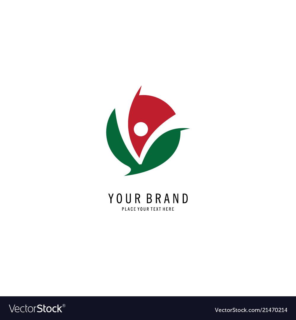 Round letter v concept logo