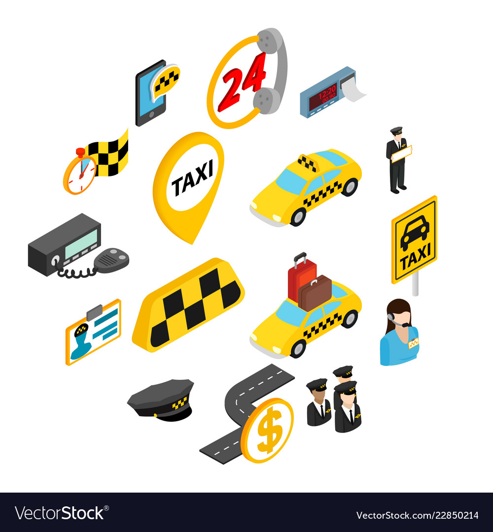 Taxi icons set isometric 3d style