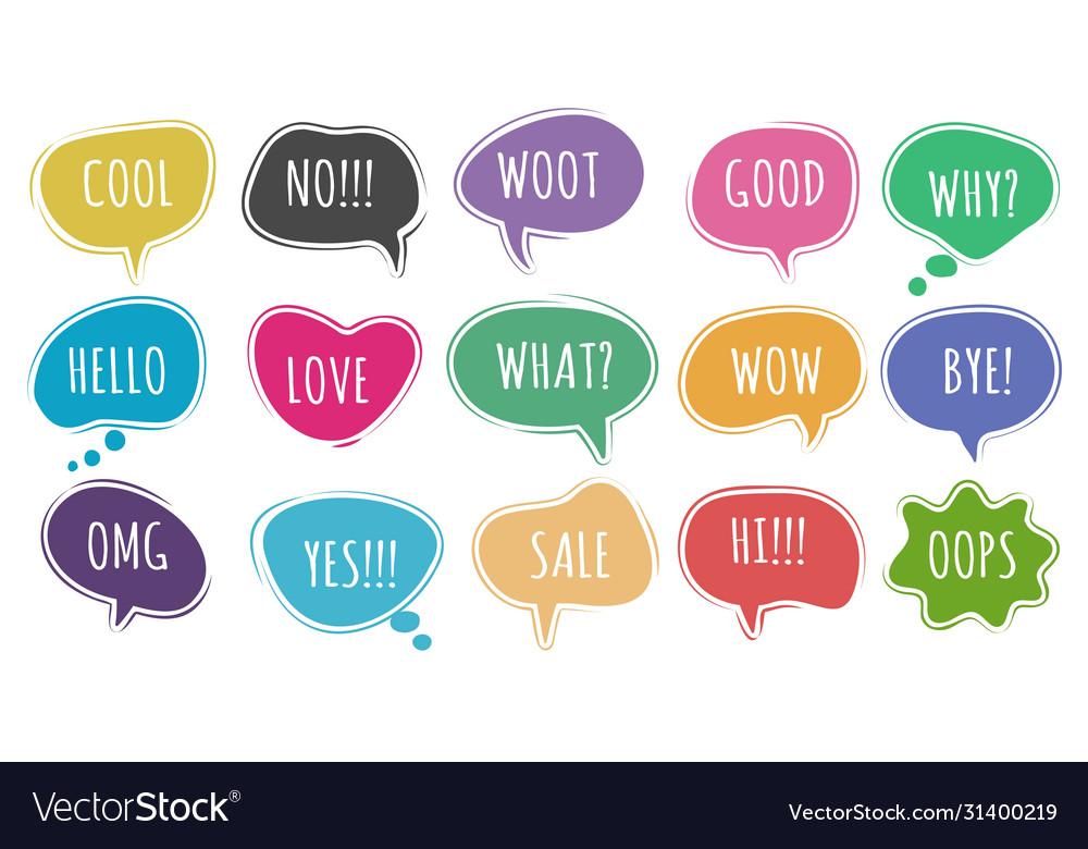 Cartoon chat words set