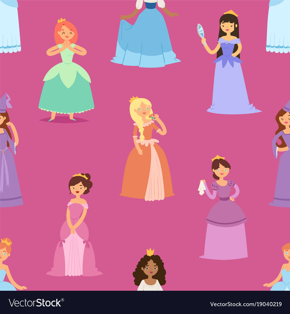 Cartoon girl princess characters different