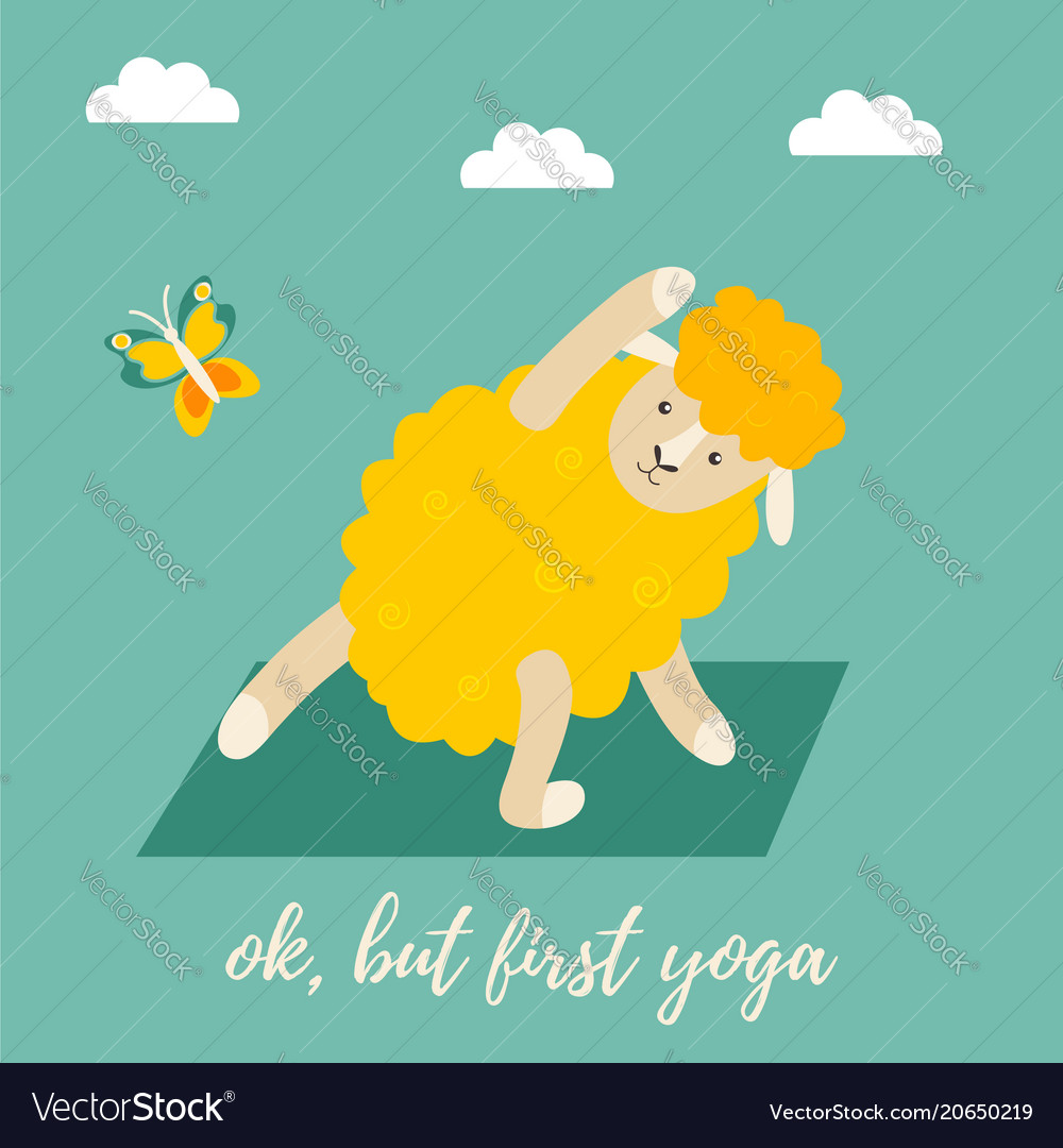 Cute cartoon sheep doing some yoga exercises