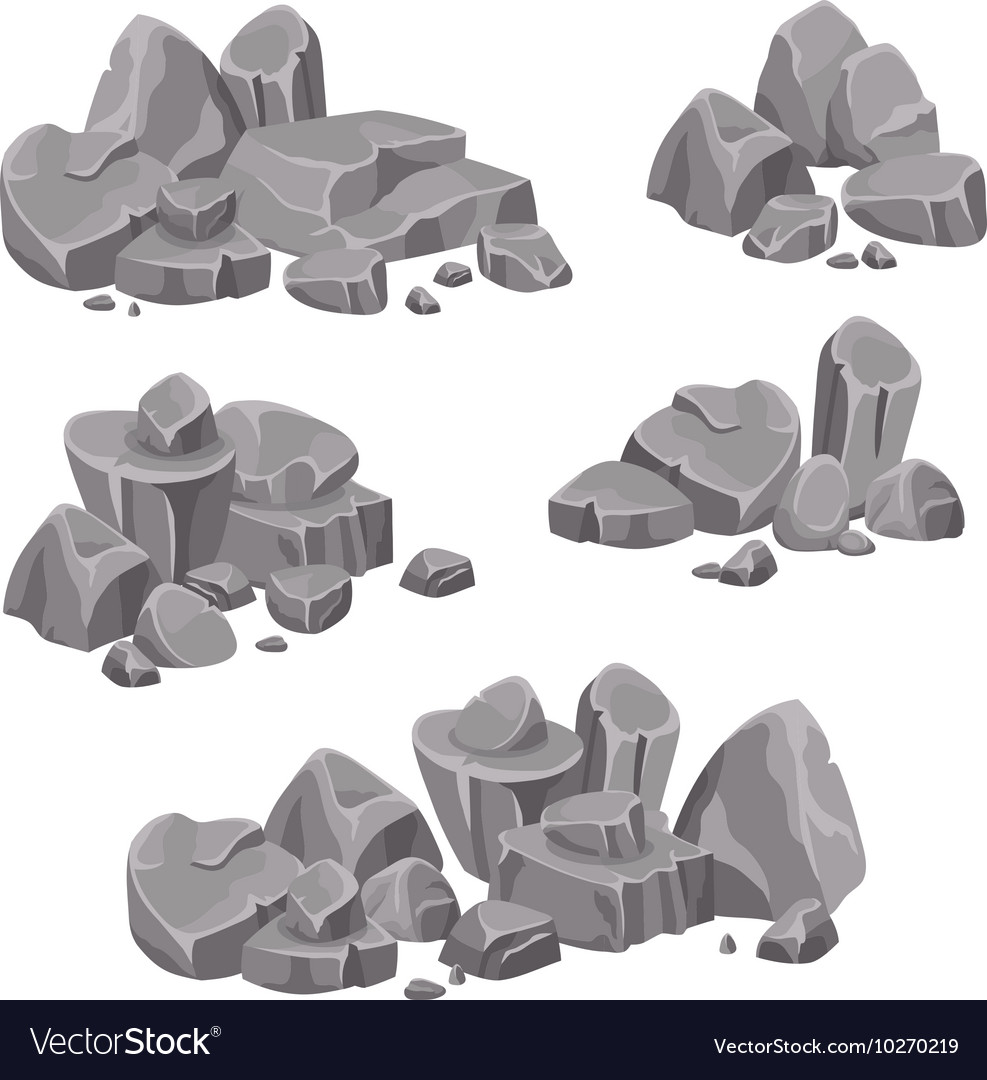 Design Groups Of Rocks And Stones Boulders vector image