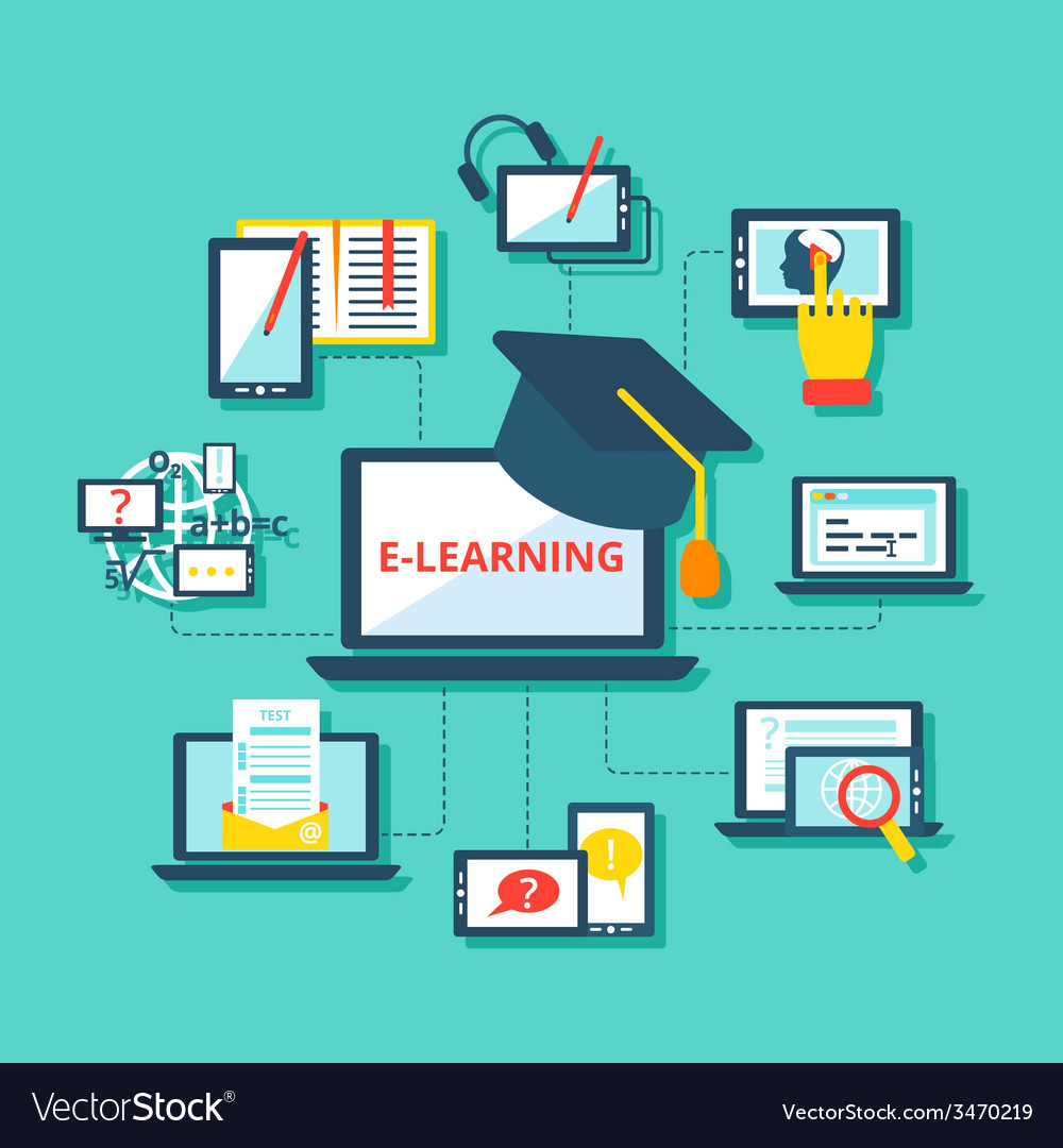 E Learning Icons Flat Royalty Free Vector Image