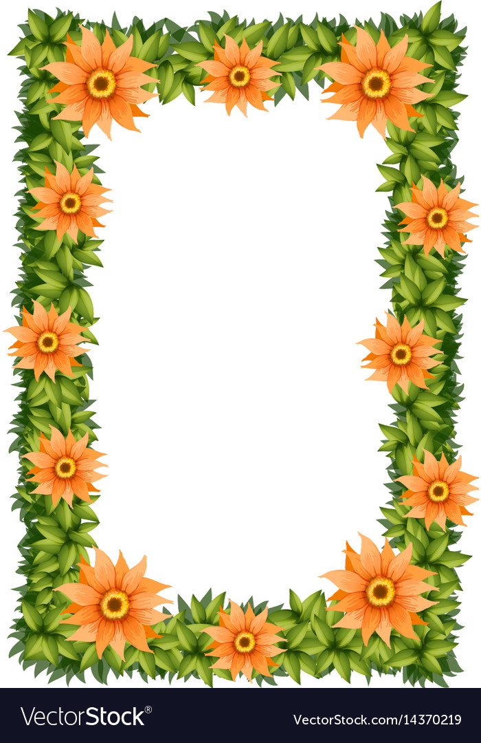 Frame design with orange flowers vector image