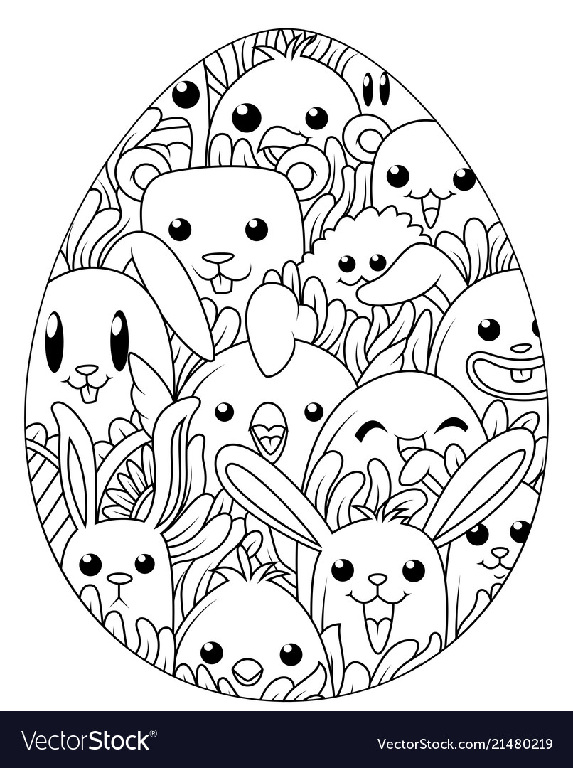 Hand drawn easter eggs for coloring book for adult