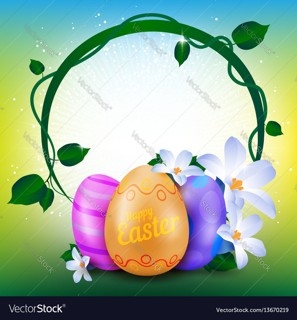 Happy easter greeting card with round frame of vector