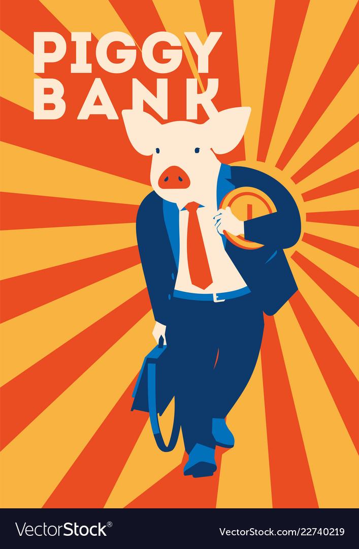 Pig businessman with coin metaphor piggy bank